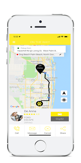 Screenshot of pawz pet taxi app. Pet Transportation and Delivery Service for Groomers, Dog Daycares, Veterinarians, and Busy Pet Owners.